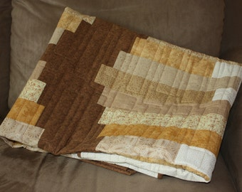 Chinese Coin Quilt, Brown Quilt, Modern Lap Quilt, Brown Coins Lap Quilt