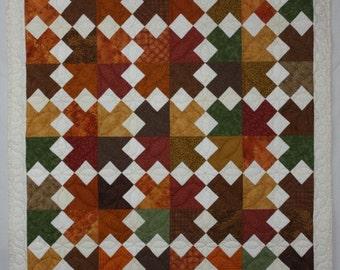 Brown Lap Quilt, Gold Lap Quilt, Modern Quilt, Southwestern Quilt, Lap Quilt, Patchwork Quilt, Desert Arrows