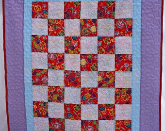Baby Quilt, Butterfly Quilt, Boy Quilt, Girl Quilt, Red Quilt, Blue Quilt, Baby Shower Gift