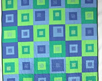 Modern Throw Quilt, Green Quilt, Blue Quilt, Modern Quilt, Green Lap Quilt, Blue Lap Quilt, Green and Blue Boxes Quilt