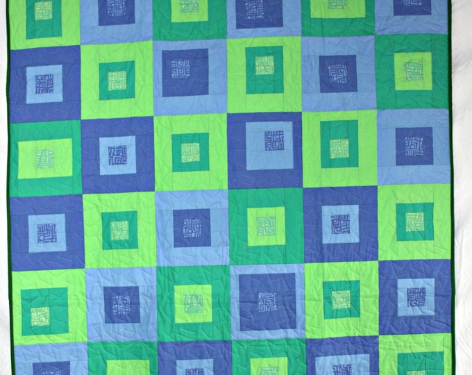 Featured listing image: Modern Throw Quilt, Green Quilt, Blue Quilt, Modern Quilt, Green Lap Quilt, Blue Lap Quilt, Green and Blue Boxes Quilt