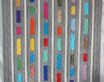 Modern Quilt, Lap Quilt, Grey Quilt, Throw Quilt, Modern Throw Quilt, Stacked Bars Lap Quilt