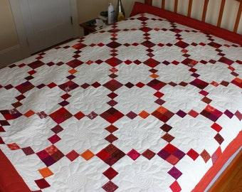 Red Quilt, Red and White Twin Quilt, Full Quilt, Red Crosses Quilt