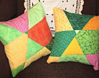 Accent Pillow, Pillow Cover, Quilted Pillow, Patchwork Pillow, Modern Pillow, Throw Pillow, Sofa Pillow
