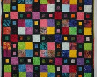 Batik Quilt, Modern Quilt, Multicolor Quilt, Lap Quilt, Q016 City Windows Lap Quilt