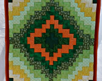 Handmade Green Gold Bargello Quilt, Lap Quilt, Sofa Throw, Patchwork Quilt, Lap Blanket, Round the World Quilt