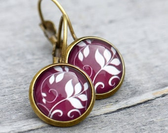 Bordeaux red - earrings with floral motif // Burgundy