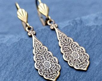 Vintage Brass Earrings - Art Deco