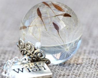 Dandelions chain - a wish - silver