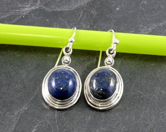 Lapis lazuli  and Silver Earrings  --  6378