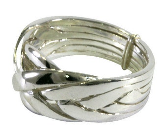 Puzzle ring, 6 line, 925 Sterling Silver
