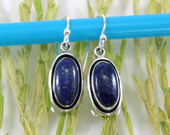 Lapis lazuli  and Silver Earrings  --  6302