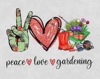 Spring Sublimation Planner Sticker Flowers Peace Love Gardening Glitter Clipart Digital Download Waterslide Plant Lover