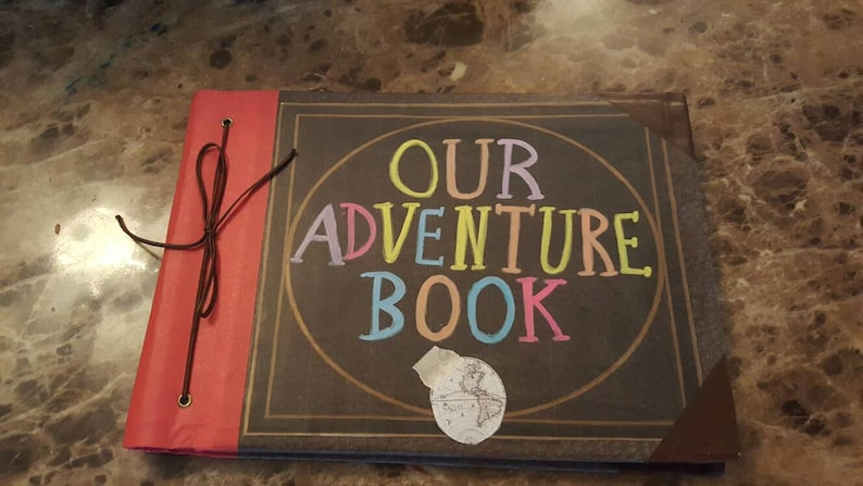 Large Our Adventure Book  Hand Painted Memory Book Wedding image 0