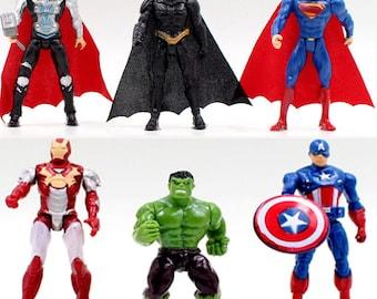 MARVEL AVENGERS Characters 10cm Action Toy Figure Captain America Iron Man Thor Hulk Batman Superman Model Cake Topper Decoration Kids Gift
