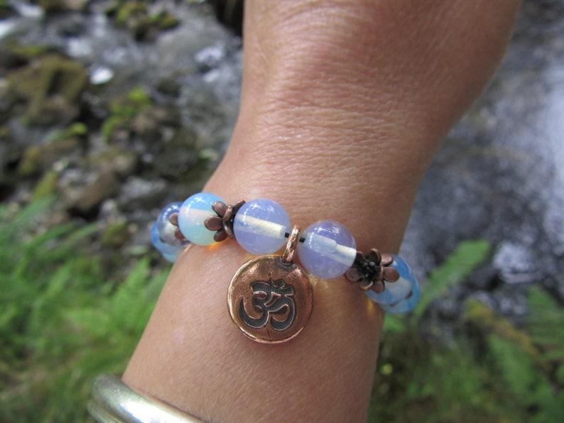 moonstone bracelet moonstone with Om charm bracelet healing jewellery Om moonstone jewellery