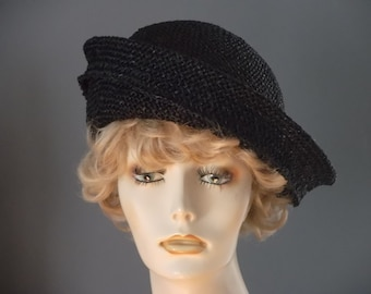 bf3e69aa87ed5 Black seagrass straw beret style hat