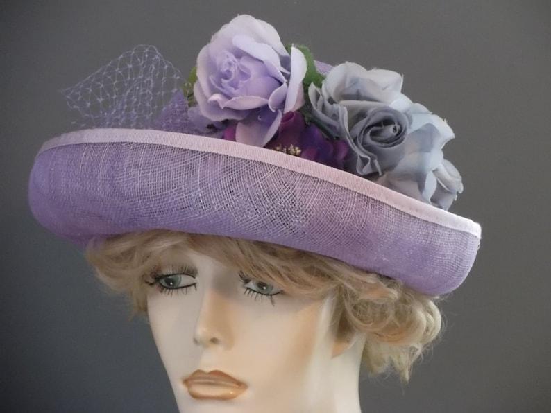 5a4f01ebbf7afe Lavender sinamay upbrim cloche hat Downton Abbey 1920s | Etsy