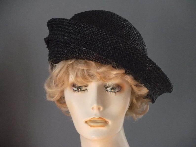 e5e9b66b8ef Black seagrass straw beret style hat black straw cloche hand