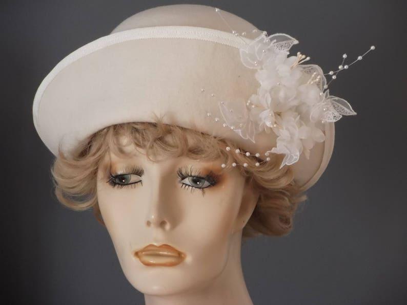ff76396694a9c Winter white felt wedding hat hand blocked vintage