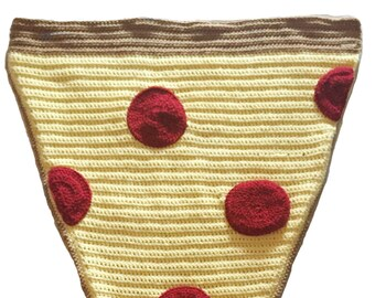 Pepperoni Pizza Blanket, Crochet Pizza Cocoon, Pizza Lover Gift, Pizza Slice Blanket, Pizza Afghan, Cocoon Blanket, Knit Pizza Blanket