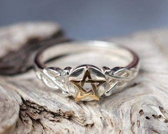 Pentacle Ring in Gold and Silver