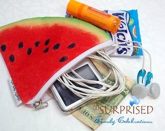 WATERMELON SNACK CASE. Very lightweight storage bag for money, keys, Ipod, snack, coins, cosmetics and more. estuche sandia. Patilla