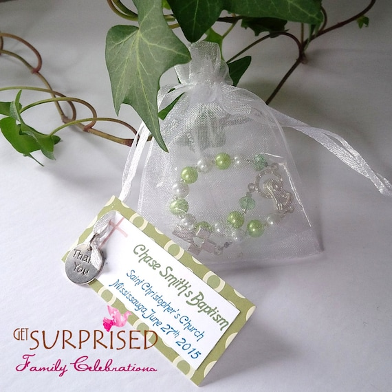 12 Green Mini Rosaries Green Pearls Decades Favors For Etsy