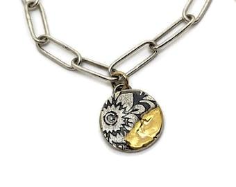 Fused Gold Floral Charm Bracelet