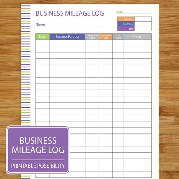 Mileage Log Business Mileage Tracker Auto Mileage Tracker Etsy
