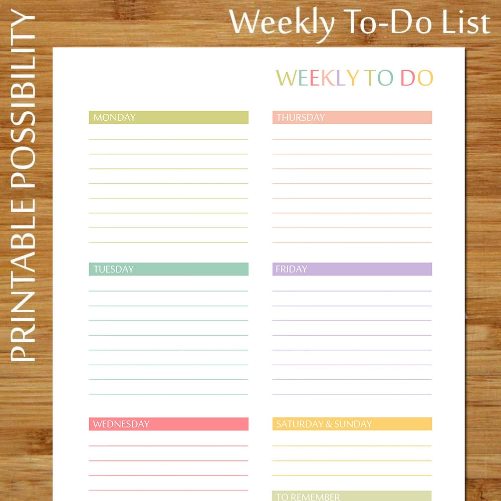 printable weekly to do list pastels colorful weekly to do | etsy