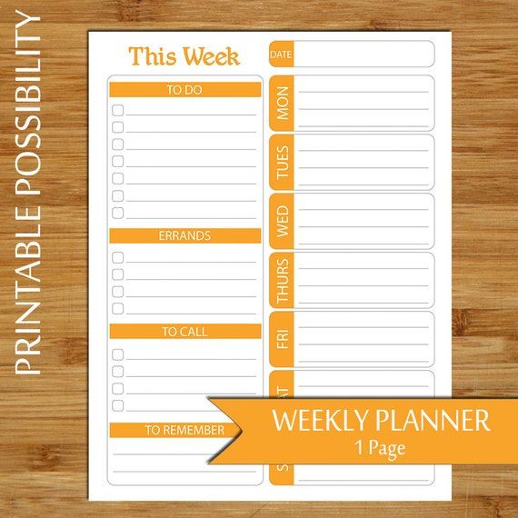 graphic regarding Week at a Glance Planner named Weekly Software - 7 days at A Appear Planner Printable within just Orange- Toward Do Record Program - Weekly In direction of Do Checklist, Errands Record, Day-to-day In direction of Do Listing- 8.5 x 11