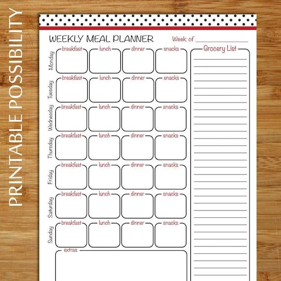 menu planner grocery list black polka dot with red border etsy