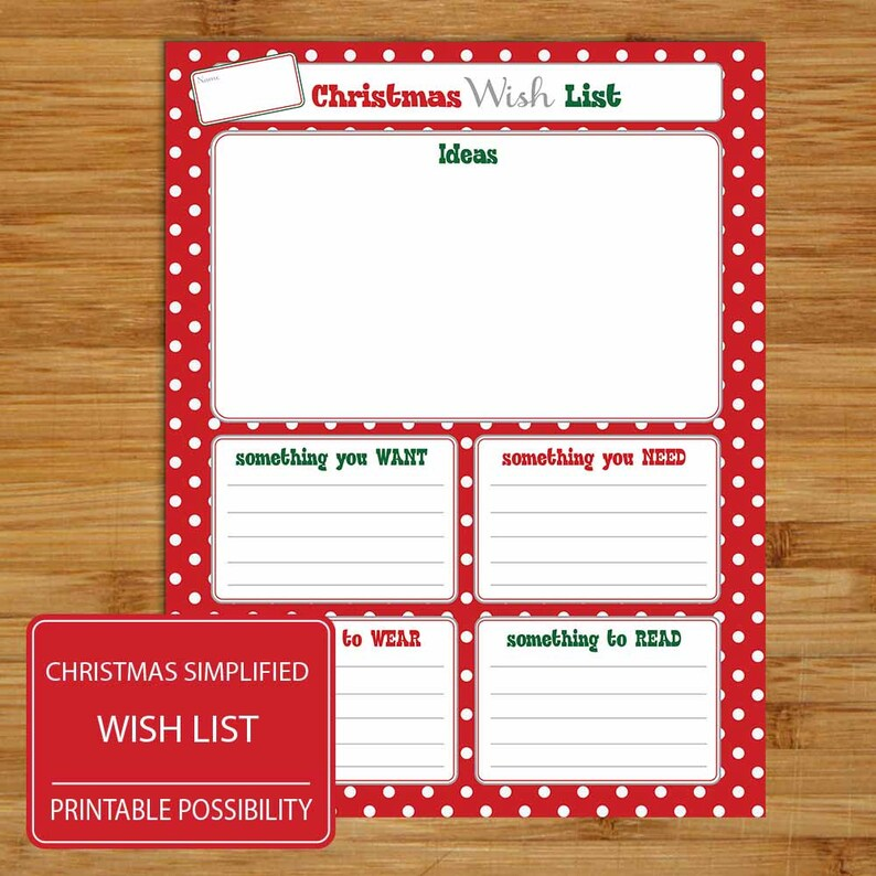 Printable Christmas Wish List Ideas.Simplified Christmas Wish List Gift Ideas Brain Storming Christmas List Something You Want Need Wear Read 8 5 X 11 Inch Printable