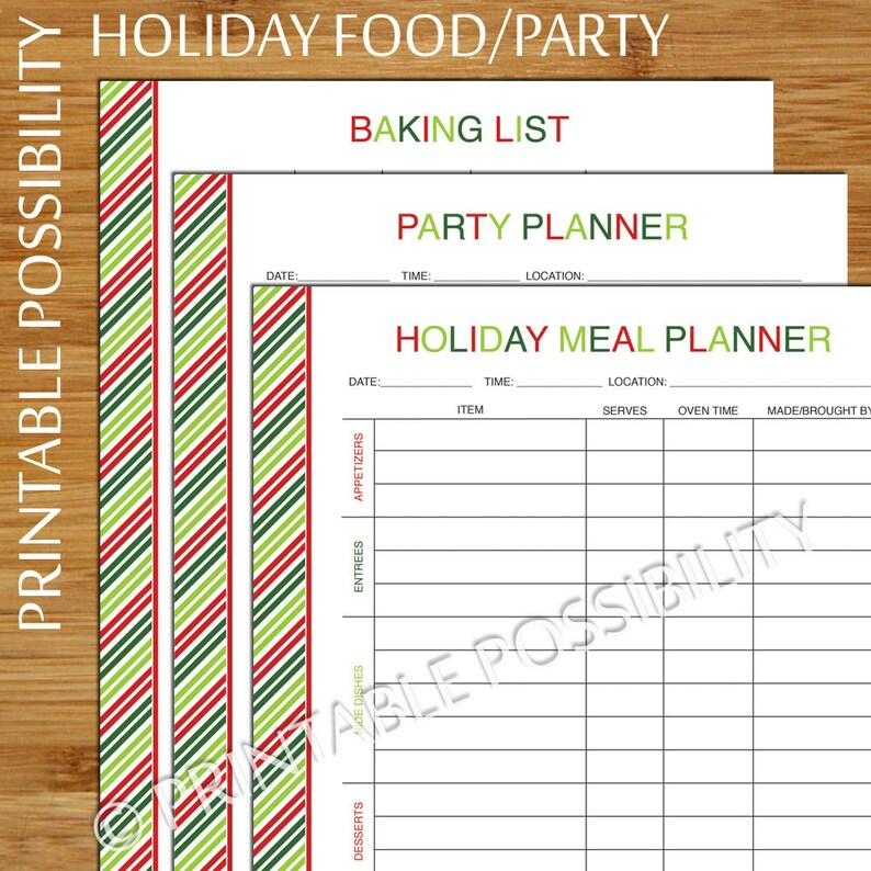 Holiday Baking And Party Printable Planner Set Christmas Baking List Holiday Party Planner Meal Planner 8 5 X 11 Inch Printable