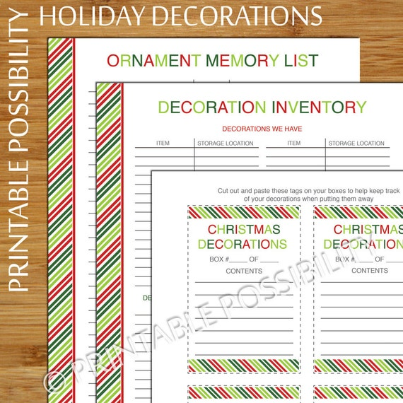 Holiday Decoration Set Christmas Decoration Inventory List | Etsy