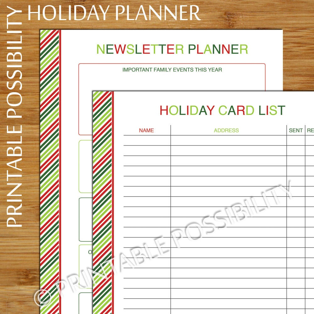 Christmas Card Planner Set Holiday Card Tracker and | Etsy