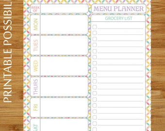 Meal Planner / Grocery List Printable Page - MultiColor Quatrefoil- Weekly Meal and Shopping Planner Page - 8.5 x 11 - Grocery List