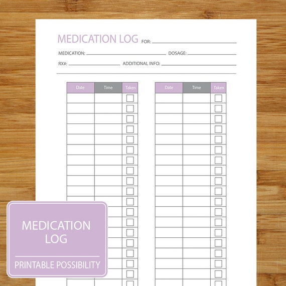 medication log printable page to track medication dosage etsy