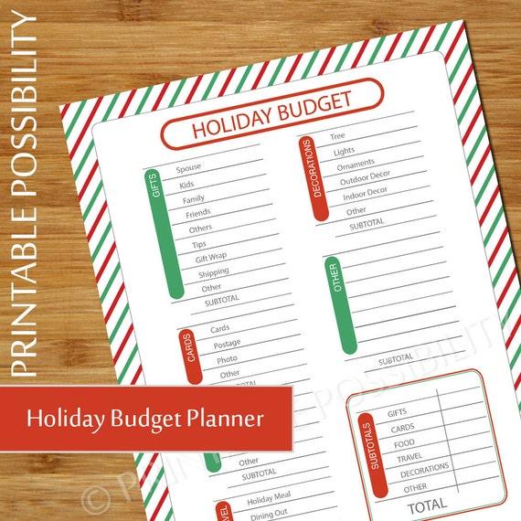 christmas budget plan holiday budget sheet budget planner etsy