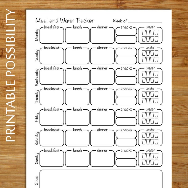 graphic about Printable Weekly Food Log known as Food stuff Log - Weekly Foodstuff Monitoring Website page - 8.5 x 11 - Monitor food items, treats, and h2o usage Weekly food items tracker inside easy black and white