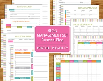 Blog Management and Planner Set for Personal Blog - Track Your blog stats, social media posts, posts, post series, blog to do list and more