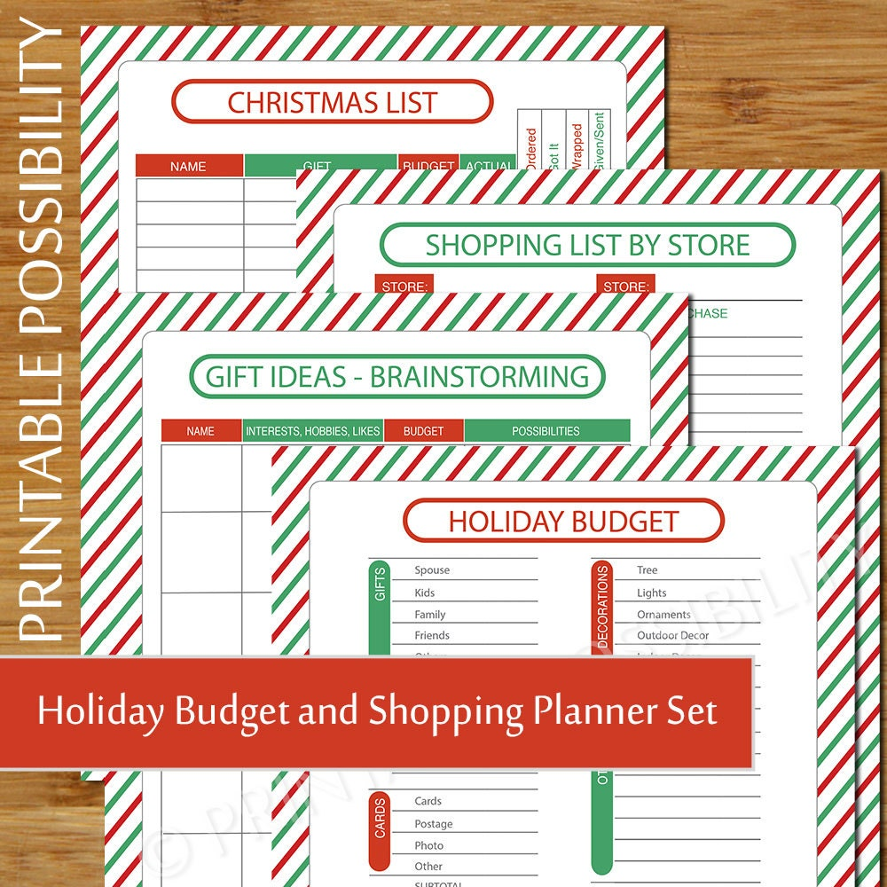 Christmas Shopping and Budget Planner Holiday Budget Sheet | Etsy
