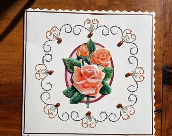 Orange roses bouquet - 3 D made handmade card