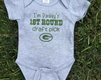 b98a36e2c Green Bay Packers Glitter onesie- Daddy s 1st Round Draft Pick