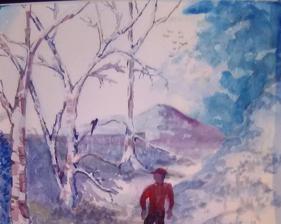 Snow Scene Painting. Scenic Winter Snow Painting, Man walking in snow, Winter in America,  Wedding Gft Painting,# 207