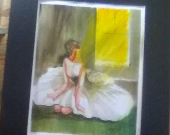 Ballerina watercolor painting print  wall art print,White Dress Dancer lady,Watercolor art work,birthday gifts#187