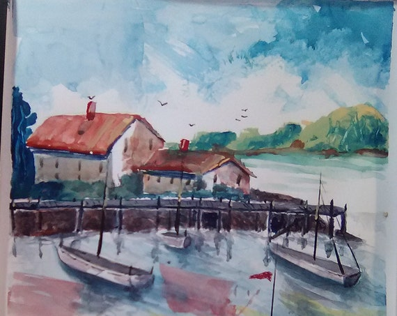 Sail Boat wall art, Cottage decor, modern wall art,decorative wall, watercolor painting  Gift for Wedding # 208