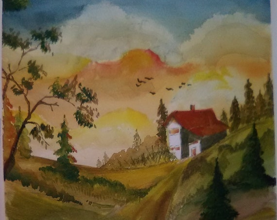 Watercolor Original Landscape Painting Print, Painting by Me, Autumn Landscape Watercolor Artwork, House on a Hill, Gift,Wall Art Print #174