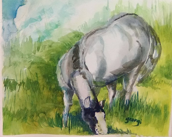 Grazeing Horse, Horse Watercolor Original Painting Print, Painting of a Horse, Landscape Horse Painting House warming Gift, #197